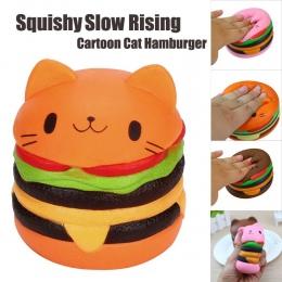 Nowy Śliczne Kawaii Miękkie Jumbo Cat Cartoon Hamburger Pachnące Squishy Powolny Rośnie Wykwintne Kid Miękkie Stress Relief Zaba