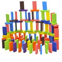 100 sztuk 10 Kolor Ustawić Drewniane Jasne Upadki Domino Dla Dzieci Gry Zabawki Zabawy