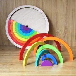 14 sztuk/zestaw Kolorowe Drewniane Klocki Zabawki Dla Dzieci Kreatywne Rainbow Montażu Bloki Zabawki Oyuncak Montessori Brinqued