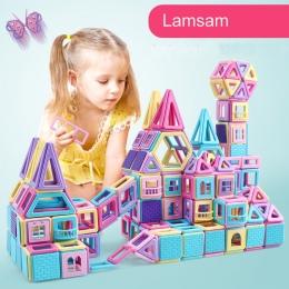 258 sztuk/40 pc Różowy blok Magnetyczny Projektant Budowy Zestaw Modelu i Budowlane Zabawki Plastikowe Magnetyczne Bloki Zabawki