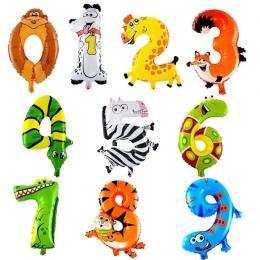30-50 cm 16 Cali Zwierząt Cartoon Liczba Balony Foliowe Party Hat Cyfra Powietrze Balony Urodziny dla Dzieci zabawki