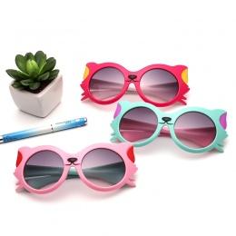 2018 Nowe Dziewczyny Chłopiec 8 Kolory Cartoon Cat Anti UV400 Okulary Maluch Dziecko Okulary