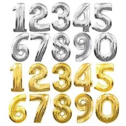 32 cal Złoto Srebro 0-9 Numery Duża Helem Numer Folia Dzieci Festiwali Dekoration Urodziny kapelusz Ballon dla dzieci