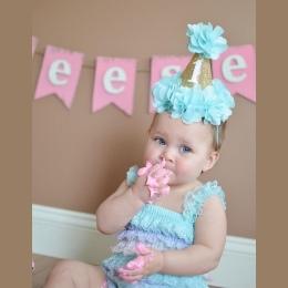 2018 Moda 1st Brithday Kapelusz Fushia Glitter Pierwsze Urodziny kapelusz Ciasto Smash Kwiat Dziewczyny Urodziny Kapelusz Dziewc