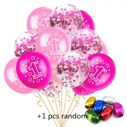 12 inche 1st Urodziny Ballon Niebieski Różowy Baby Party Decor 10 sztuk 1 Rok + 5 sztuk Konfetti + 1 sztuk 10 m Losowy kolor Wst
