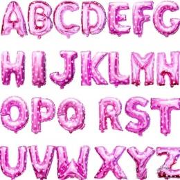 Różowy 40 cm 16 Cali Balony Foliowe AZ Alfabet Angielski Litery Kapelusz Strony Cyfra Powietrze Balony Urodziny dla Dzieci zabaw
