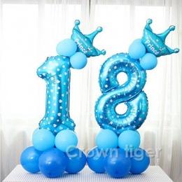 Strona kapelusz 17 sztuk Niebieski Różowy Numer Balon Szczęśliwy Urodziny Balon numer kapelusze Urodziny Dla Dzieci dzieci Chłop