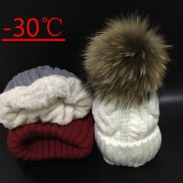 2018 kobiet kapelusze Dodać aksamitna Polar Wewnątrz Czapki Czapki Zimowe dla kobiet 100% Futro Szopa Pomponem Kapelusz Kobiet S