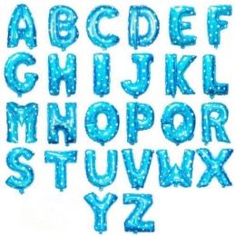 Niebieski 40 cm 16 Cali Balony Foliowe AZ Alfabet Angielski Listy strona Kapelusz Cyfra Air Balloons Wedding Birthday Party dla