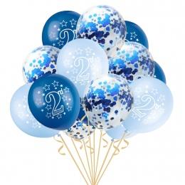 15 sztuk 12 Cal Szczęśliwy 2 lat Globo Urodziny Niebieski Różowy Złota Wzrosła Lateksowe Konfetti dla Dzieci Birthday Party deko