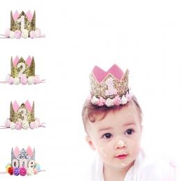 Baby Boy Dziewczyna Urodziny Kapelusz Kwiat Księżniczka Książę Korony 4 Projekt Glitter Party Cartoon Kapelusze Dekoracyjne Akce