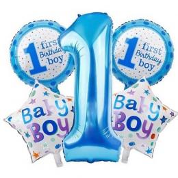 5 sztuk Dziecko 1st Balony Zestaw Różowy Niebieski Numer Folia Kulki Powietrza Chłopiec Dziewczyna Zabawki Dekoracje Dla Dzieci