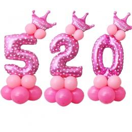 17 sztuk w 1 Niebieski Różowy Strona Kapelusz Air Balloon Zabawki Numer 0-9 Z Okazji Urodzin Decor Dzieci Prezent zabawki