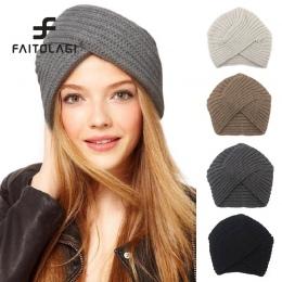 Kknitted czapka zimowa kobiety panie filcowy kapelusz turban szef wrap headwrap Kapelusz dziewczyny croceht czapki czapki dla ko