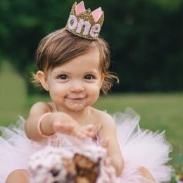 Wysoka Jakość Dla Niemowląt Chłopiec Dziewczyna Urodziny Kapelusz Złota Księżniczka książę Korony Jeden Dwa Trzy Lata Stare Glit