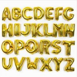 Złoto 40 cm 16 Cali Balony Foliowe AZ Alfabet Angielski Litery Kapelusz Strony Cyfra Powietrze Balony Urodziny dla Dzieci zabawk