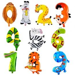 30-50 cm 16 cali Zwierząt Cartoon 0-9 Numer Folia Strona Kapelusz Digital Air Balony Birthday Party dla Dzieci Zabawki