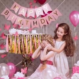 1 sztuk Party Zabawki Kapelusz Pastelowe Różowy Szczęśliwy Urodziny Banner Wiszące Zabawki Złoto List Photo Prop Trznadel Garlan