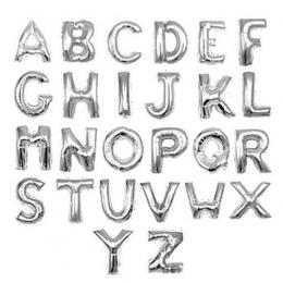 Srebrny 40 cm 16 Cali Balony Foliowe AZ Alfabet Angielski Litery Kapelusz Strony Cyfra Powietrze Balony Urodziny dla Dzieci zaba