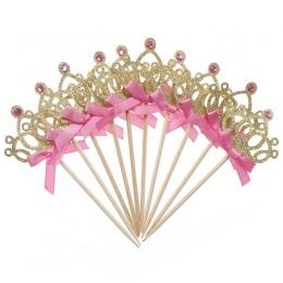 10 sztuk/partia 1st Urodziny Strona Dekoracji Zabawki Kapelusz Dzieci Party Toy Złoty/Srebrny Cupcake Wykaszarki Crown Princess