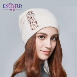 ENJOYFUR czapki zimowe dla kobiet dzianiny wełna ciepłe czapki dama mody Dżetów czapki skull cap