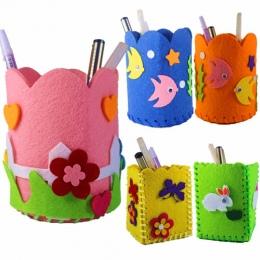 2018 Dziecko Edukacyjne DIY Craft Tangram Bloku Zestaw Śliczne Kreatywny Ręcznie Pióro Pojemnik DIY Posiadacz Ołówek Dzieci Zaba