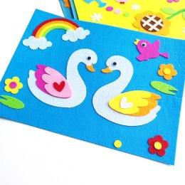 Cartoon Naklejki PODŁUBAĆ Zabawki Włókniny Czuł Kolaż Uroczy Dekoracji Naklejki Edukacyjne Prezenty Żaba Kaczka Swan 1 Zestaw Dz