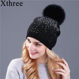 [Xthree] kobiety zima beanie kapelusz futra Królika wełny dzianiny kapelusz kobiet z norek pom pom Shining rhinestone kapelusze