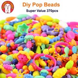 370 sztuk Pop Koraliki Zabawki Creativel Sztuki I Rzemiosła Dla Dzieci Bransoletka Przystawki Razem Biżuteria Fashion Zestaw Zab