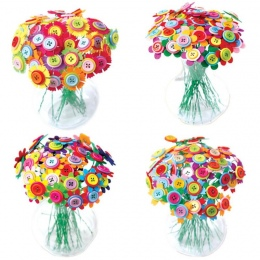 Kreatywny Projekt Przycisk Bukiet Dzieci DIY Rzemieślnicze Flower Zabawki Edukacyjne Przyciski Gwintowania Handmade Kwiaty Bough