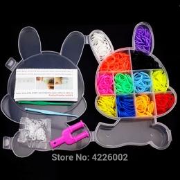 Kolorowe Gumowe Loom Zespoły Tkactwo Pleciony Elastyczna guma Narzędzie DIY Charms Kit Box Dzieci Wyplatania Zabawki dla Bransol