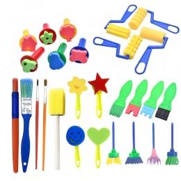 27 sztuk/zestaw DIY Malowanie Narzędzia Zabawki Kwiat Znaczek Znaczki Gąbka Szczotka Zestaw Dostaw Sztuki Dla Dzieci