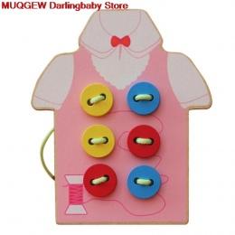 Edukacja Nauka Edukacja Montessori Koraliki Sznurowania Pokładzie Drewniane Zabawki rodzicielstwo Przyszyć Guziki Arts Crafts DI