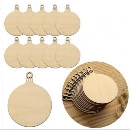 10 sztuk Drewniane Okrągłe Bombki Tagi Choinki Kulki Dekoracje Art Craft Ozdoby Boże Narodzenie Craft DIY Zabawki Gify Dla Dziec