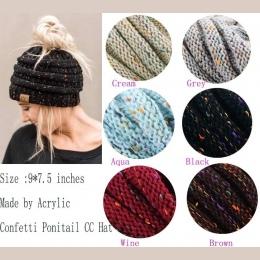 Nowe Trendy CC Ciepła Czapka Zimowa Dla Kobiet Kucyk Messy Bun Stretch Cable Knit Beanie Kapelusze Miękkie Czapka Narciarska Hur