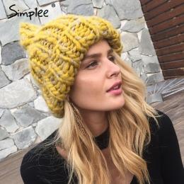 Simplee dziania wełny kapelusze 2017 Pomponem pompon kapelusze skullies czapki Ciepłe kapelusz jesień czapka zimowa czapka kobie