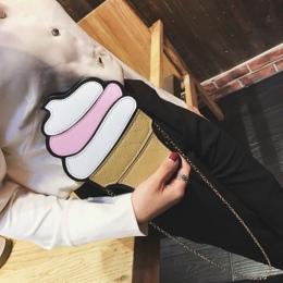 Cute Cartoon Kobiet Lodów Cupcake Mini PU Skórzane Torby Mały Łańcuszek Sprzęgłowy Dziewczyna Torba Na Ramię Crossbody Dropshipp