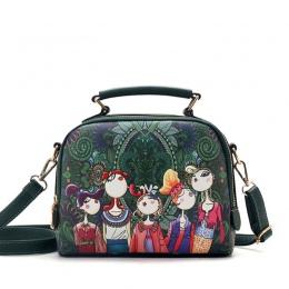 YQYDER 2017 projektant luksusowe marki wysokiej jakości torebki skórzane damskie PU panie zielony cartoon torebka torba na ramię