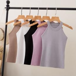 Lato Kobiety Slim Knitting Halter Camisole Topy Kobiet Bodycon Dzianiny Zbiorniki Bez Rękawów Podstawowe Stałe T koszule 8017
