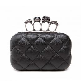 Skull ring kobieta wieczór torba w stylu vintage plaid kobieta sprzęgłowa torba Panie messenger torby Mini czarny Luksusowe part