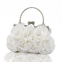 Eleganckie Kobiety Satin Rhinestone Torebka Mała Partia kobiet Sprzęgła Wieczór Torby Rose Floral Flower Kobiet Torebki Ślubne B