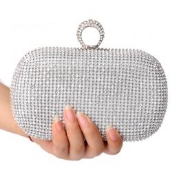 Moda Ring Finger Diamenty Kobiety Torebki Wieczorowe Kobiet Dżetów lady Torebki Na Ramię Łańcucha Torebka/Torba Wieczór