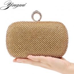 YINGMI Dżetów kobiet sprzęgło torby damskie torebki wieczorowe diamonds ring finger kryształ wedding bridal torebki kiesy torby