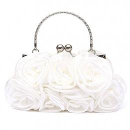 VSEN Hot Floral Panie Sprzęgłowa Torba Kobiet Torba Wieczór Party Prom Bridal Diamante Baguette Biały