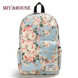 Miyahouse Świeże Styl Kobiety Plecaki Floral Print Bookbags Torba Płótno Plecak Szkolny Dla Dziewczyny Plecak Plecak Podróże Kob