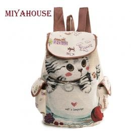 Miyahouse Dorywczo Płótnie Plecak Szkolny Kobiet Piękny Kot Wydrukowano Ściągacze Plecak Nastolatek Duża Pojemność Panie Tornist