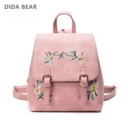 DIDA NIEDŹWIEDŹ Marki Kobiety Plecaki Skórzane Kobiet torby Szkolne dla Dziewcząt Plecak Małe Kwiatowy Haft Kwiaty Bagpack Mochi
