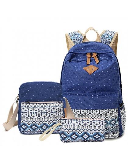 Stylowa Płótnie Druk Plecak Kobiet Preppy Torby Szkolne dla Nastoletnich Dziewcząt Cute Czarny Zestaw Podróży Plecaki Kobiet Bag