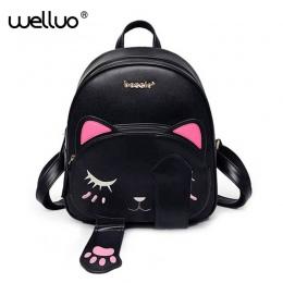 Cute Cat Plecak Szkolny Kobiet Pu Skórzane Plecaki dla Nastoletnich Dziewcząt Śmieszne Koty Uszy Płótno Torby Na Ramię Kobiet Mo