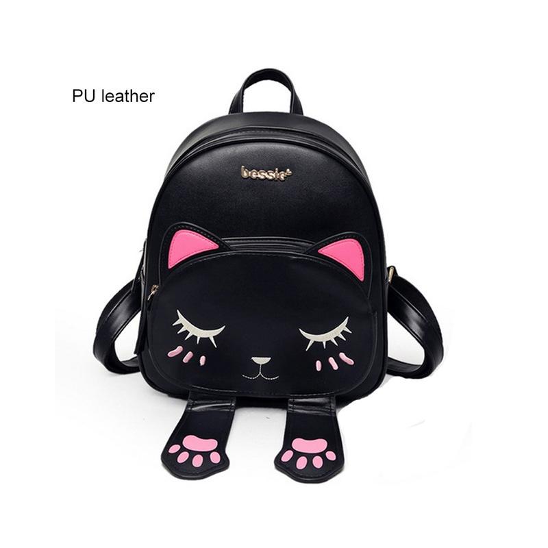 e7fa51c8dc626 ... Cute Cat Plecak Szkolny Kobiet Pu Skórzane Plecaki dla Nastoletnich  Dziewcząt Śmieszne Koty Uszy Płótno Torby ...